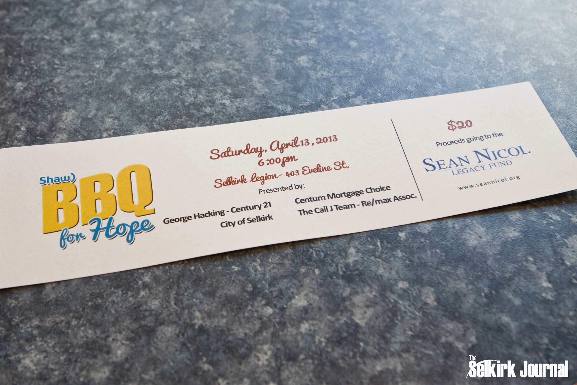 A hot commodity! Ticket to the sold out 2013 Shaw BBQ for Hope Fundraiser!